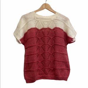 Vintage Hand Knit Short Sleeve Top Size Medium GUC